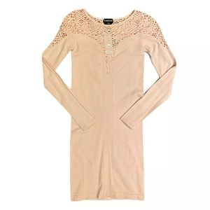 bebe LS Netted Stretch Bodycon Dress Blush Pink